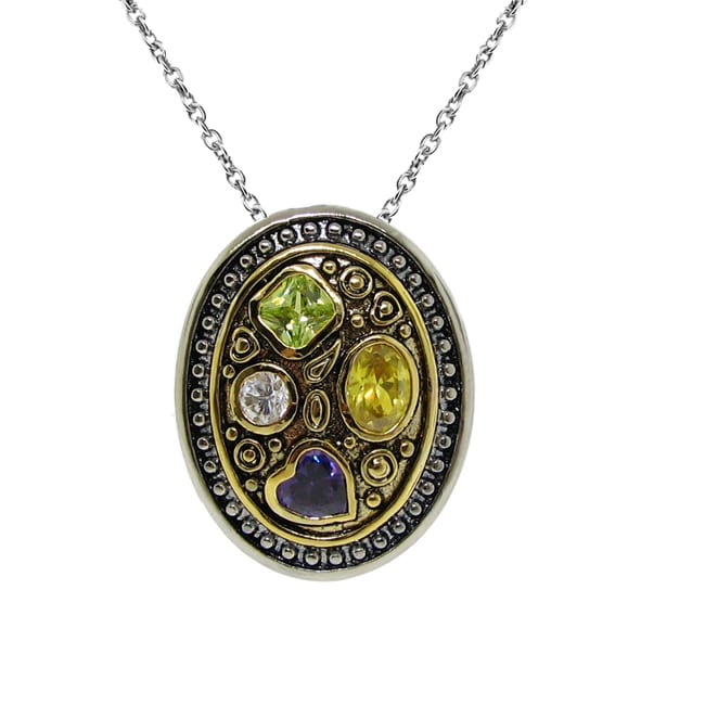 Two-tone Multi-colored Cubic Zirconia Necklace