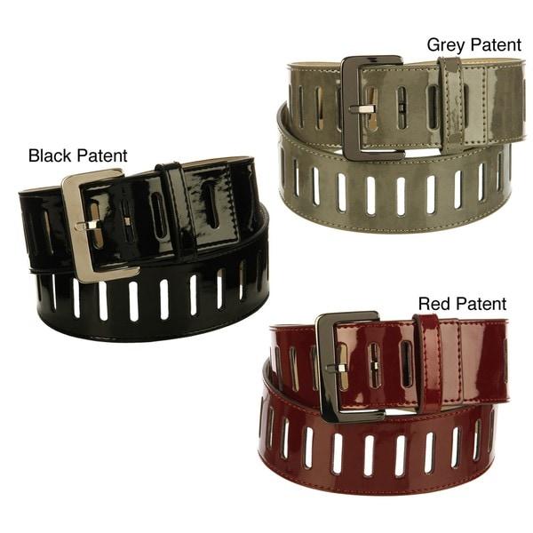 Steve Madden Women's Patent Leather with Slits Belt