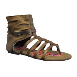 Muk Luks Women's Sun Luks Chocolate Printed Canvas Scrunched Gladiator Sandals