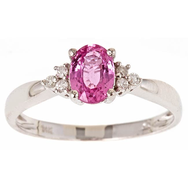 D'Yach 14k White Gold Pink Sapphire and Diamond Accent Fashion Ring