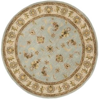 Handmade Heritage Kashmar Light Blue/ Beige Wool Rug (3'6 Round)