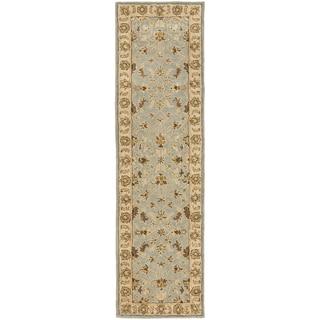 Handmade Kashmar Light Blue/ Beige Wool Runner (2'3 x 6')