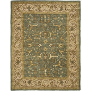 Handmade Heritage Kashen Blue/ Beige Wool Rug (9'6 x 13'6)