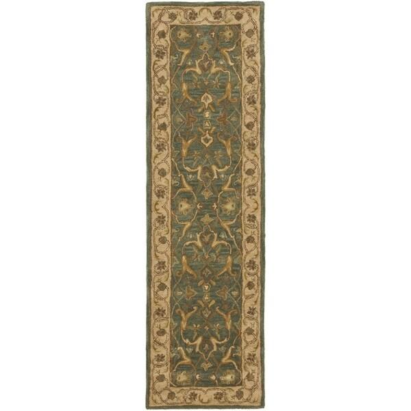 Safavieh Handmade Heritage Kashen Blue/ Beige Wool Runner (2'3 x 6')