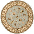 Handmade Heritage Kashmar Light Blue/ Beige Wool Rug (6' Round)