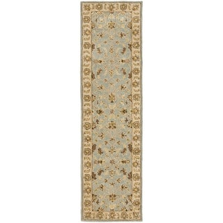 Handmade Kashmar Light Blue/ Beige Wool Runner (2'3 x 12')