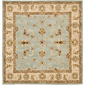 Handmade Heritage Kashmar Light Blue/ Beige Wool Rug (6' Square)