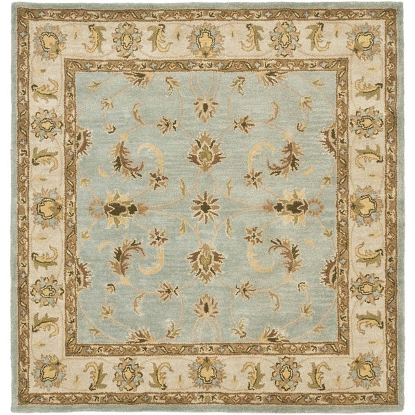 Safavieh Handmade Heritage Kashmar Light Blue/ Beige Wool Rug (6' Square)