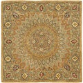 Handmade Medallion Light Brown/ Grey Wool Rug (6' Square)
