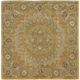 Handmade Medallion Light Brown/ Grey Wool Rug (6' Square)