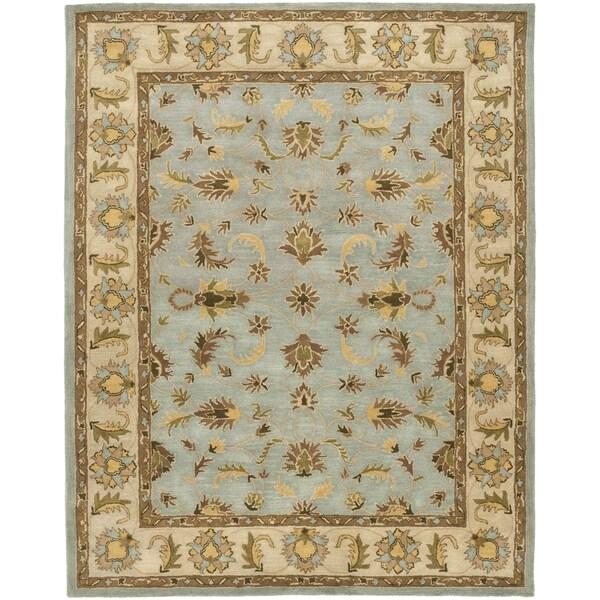 Safavieh Handmade Heritage Kashmar Light Blue/ Beige Wool Rug (7'6 x 9'6)