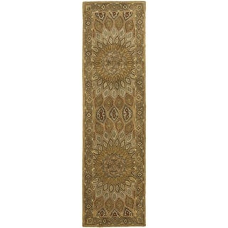 Handmade Medallion Light Brown/ Grey Wool Runner (2'3 x 8')