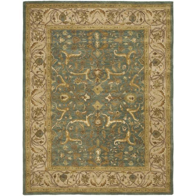 Safavieh Handmade Heritage Kashen Blue/ Beige Wool Rug (7'6 x 9'6)