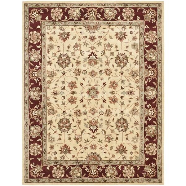 Safavieh Handmade Heritage Tabas Ivory/ Red Wool Rug (7'6 x 9'6)