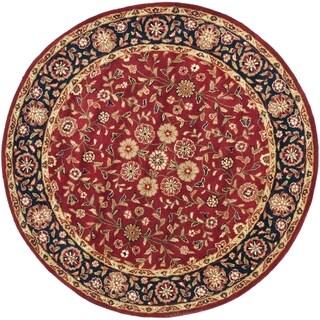 Safavieh Handmade Heritage Birj Red/ Navy Wool Rug (6' Round)