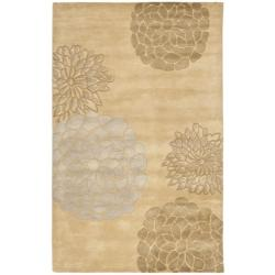 Handmade Soho Bontanical Beige New Zealand Wool Rug (5'x 8')