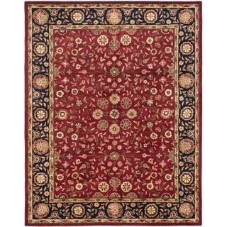 Handmade Heritage Birj Red/ Navy Wool Rug (7'6 x 9'6)