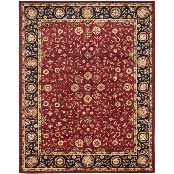Safavieh Handmade Heritage Birj Red/ Navy Wool Rug (7'6 x 9'6)