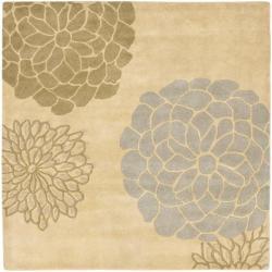 Handmade Soho Bontanical Beige New Zealand Wool Rug (6' Square)