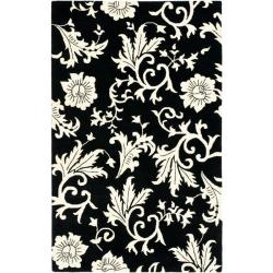 Handmade Soho Sillo Black New Zealand Wool Rug (5'x 8')