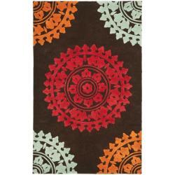 Safavieh Handmade Soho Chrono Brown/ Multi N. Z. Wool Rug (7'6 x 9'6)