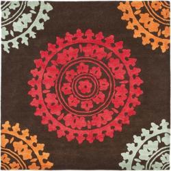 Safavieh Handmade Soho Chrono Brown/ Multi N. Z. Wool Rug (6' Square)