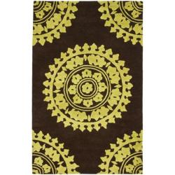 Safavieh Handmade Soho Chrono Brown/ Green N. Z. Wool Rug (7'6 x 9'6)