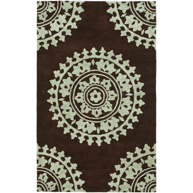 Safavieh Handmade Soho Chrono Brown/ Teal N. Z. Wool Rug (3'6 x 5'6')