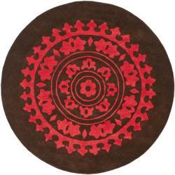 Safavieh Handmade Soho Chrono Brown/ Multi New Zealand Wool Rug (6' Round)