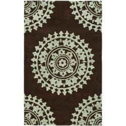 Safavieh Handmade Soho Chrono Brown/ Teal New Zealand Wool Rug (7'6 x 9'6)