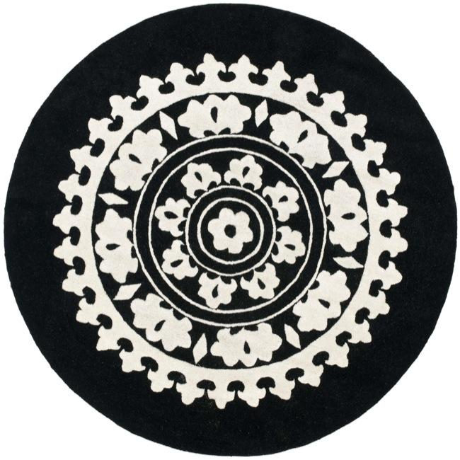 Safavieh Handmade Soho Chrono Black/ Ivory New Zealand Wool Rug (6' Round)