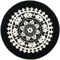 Handmade Soho Chrono Black/ Ivory New Zealand Wool Rug (6' Round)