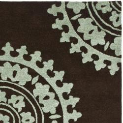 Safavieh Handmade Soho Chrono Brown/ Teal New Zealand Wool Rug (6' Square)