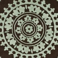 Handmade Soho Chrono Brown/ Teal New Zealand Wool Rug (6' Square)
