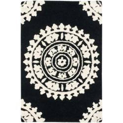 Handmade Soho Chrono Black/ Ivory New Zealand Wool Rug (2' x 3')