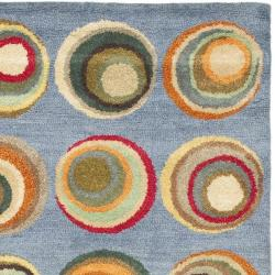 Handmade Soho Candies Blue/ Multi New Zealand Wool Rug (5'x 8')