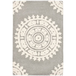 Handmade Soho Chrono Grey/ Ivory New Zealand Wool Rug (2' x 3')