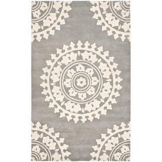 Handmade Soho Chrono Grey/ Ivory N. Z. Wool Rug (3'6 x 5'6')