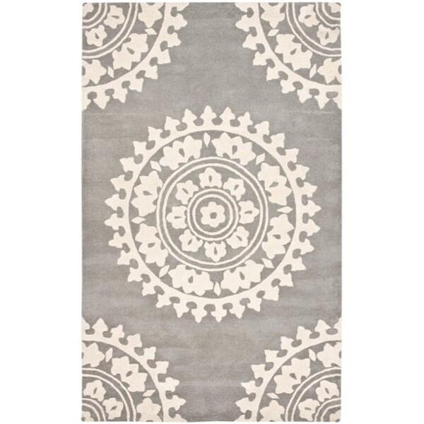 Safavieh Handmade Soho Chrono Grey/ Ivory N. Z. Wool Rug (3'6 x 5'6')