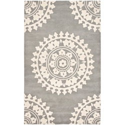 Handmade Soho Chrono Grey/ Ivory New Zealand Wool Rug (5'x 8')