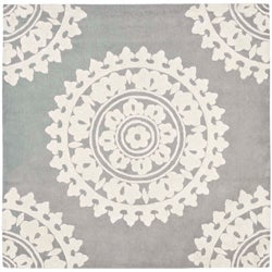 Handmade Soho Chrono Grey/ Ivory New Zealand Wool Rug (6' Square)