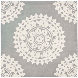 Safavieh Handmade Soho Chrono Grey/ Ivory New Zealand Wool Rug (6' Square)