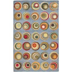 Safavieh Handmade Soho Candies Blue/ Multi N. Z. Wool Rug (7'6 x 9'6)