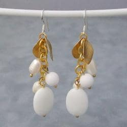 Gold Leaf Milky Quartz and Pearl Dangle Earrings (8-11 mm) (Thailand)