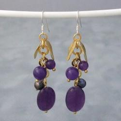 Gold Leaf Purple Amethyst and Pearl Dangle Earrings (6-7 mm) (Thailand)