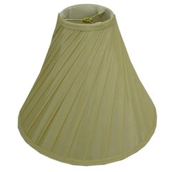 Round Diagonal-pleated Cream Silk Lamp Shade