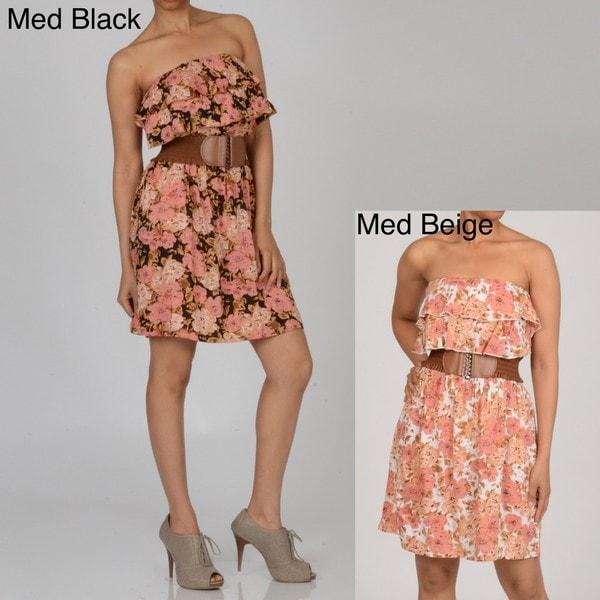 Elan Women's Strapless Ruffled Belted Dress