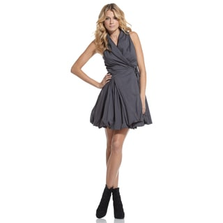 Elan Women's Cotton Wrap-front Bubble-hem Dress