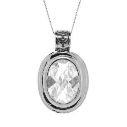 Silvertone Clear Cubic Zirconia Filigree Necklace