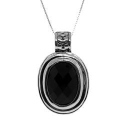 Silvertone Black Cubic Zirconia Filigree Necklace